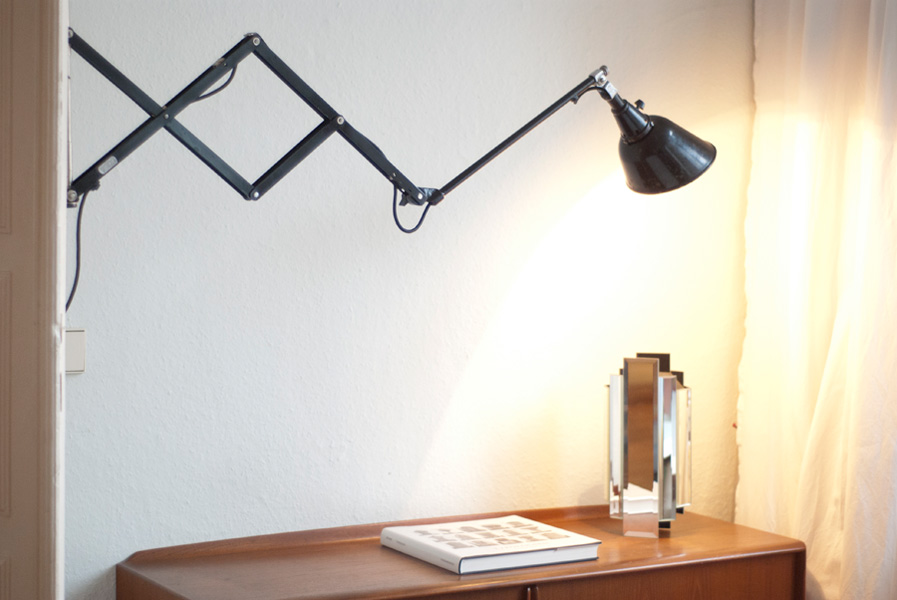 Bauhaus Midgard Drgm Drp Ausl Pat Old Scissor Lamp Fiat Lux Berlin