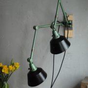lampen-553-554-paar-gelenkleuchte-wandlampen-midgard-ddrp-originalzustand-hammerschlag-grün-pair-wall-hinged-lamps-hammertone-023