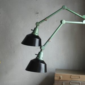 lampen-553-554-paar-gelenkleuchte-wandlampen-midgard-ddrp-originalzustand-hammerschlag-grün-pair-wall-hinged-lamps-hammertone-045
